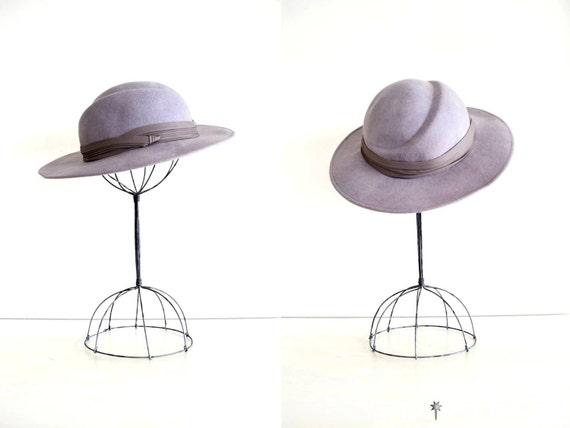 vintage wool hat : 1960s charcoal gray felt hat