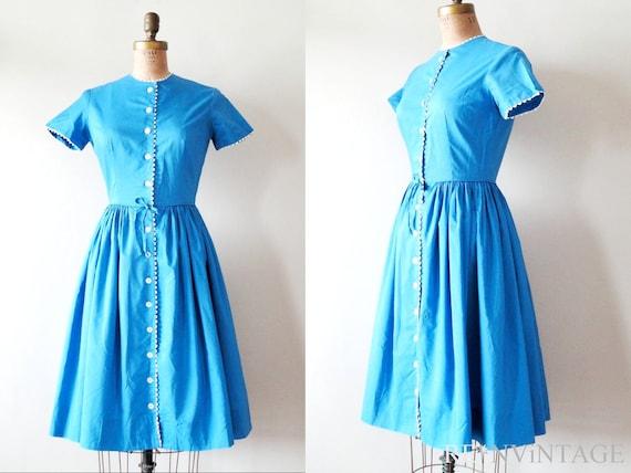 vintage 1950s dress : iNDiGO OCEAN 50s blue by Bobbie Brooks