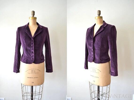 vintage velvet blazer : EGGPLANT PLUM purple velvet coat