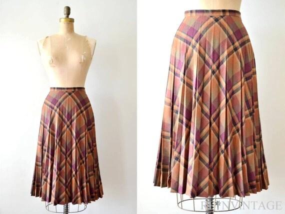 vintage pleated plaid skirt : 1970s autumn harvest tartan plaid copper wool skirt