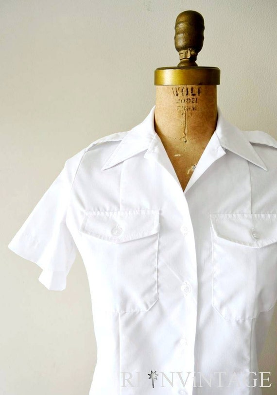 reserved...vintage cotton blouse - bright white nautical uniform shirt