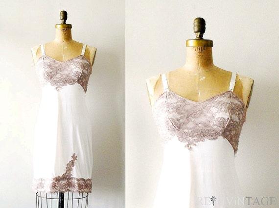 vintage full slip : ivory mocha lace naughty dress slip