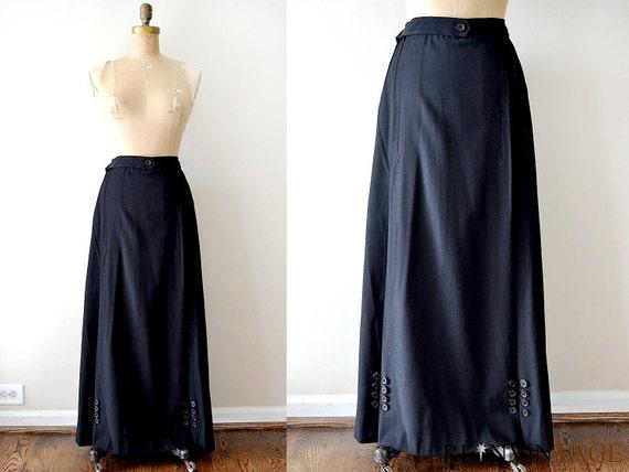 vintage edwardian skirt : 1900s edwardian long black skirt with button detail