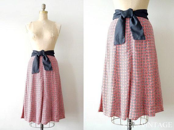 vintage skirt : 1980s geometric red black belted skirt