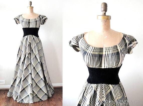 vintage 1930s dress -  30s formal full skirt dress / scarlett o'hara