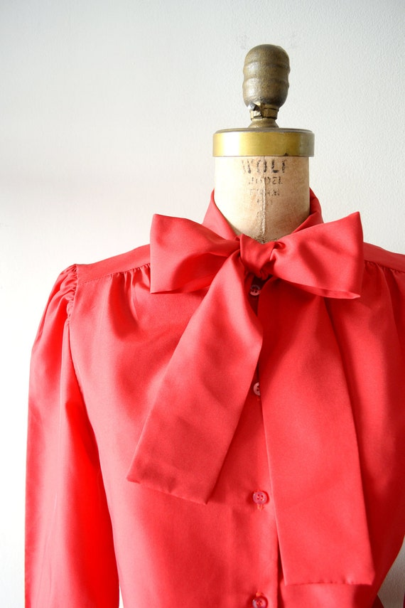 vintage secretary blouse : cherry red bow tie top