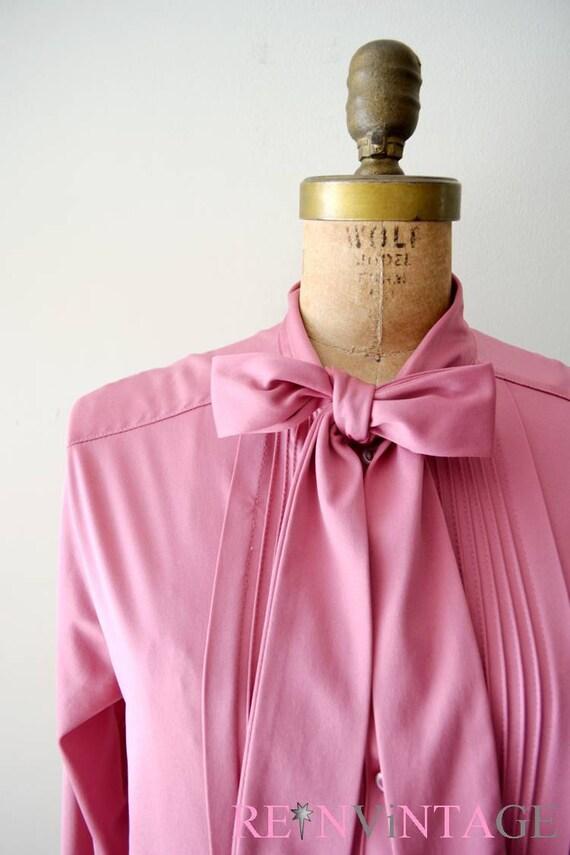 vintage secretary blouse - pink mauve bow tie top