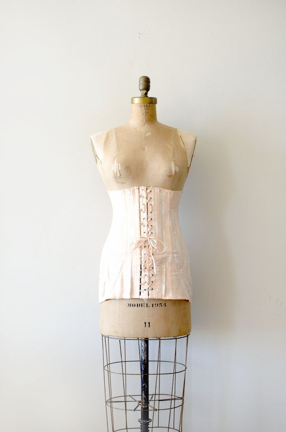 reserved.....vintage edwardian corset - 1910s front lacing corset / rare tea rose pink by Gossard