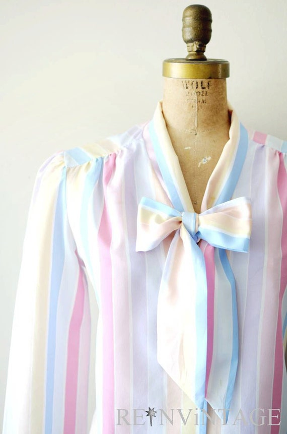 vintage secretary blouse - peachy pink striped top