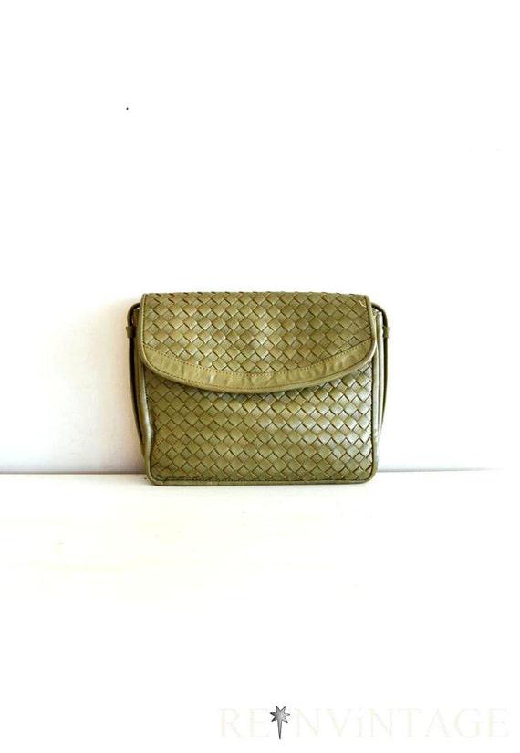 vintage purse - 1980s olive leather woven purse