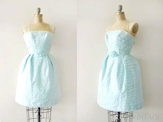 vintage 1950s dress - 50s robin egg blue party dress / strapless tier skirt