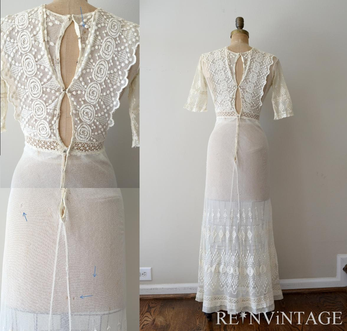 Vintage Victorian Wedding Dresses: Vintage 1910s Dress Edwardian Wedding Dress / Antique Ivory