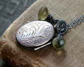 RESERVED for petena5h Locket Necklace Oxidized Sterling Silver Double Sided Vintage Pendant