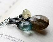 Moss Stone Medley Necklace Oxidized Sterling Silver Labradorite Moss Aquamarine