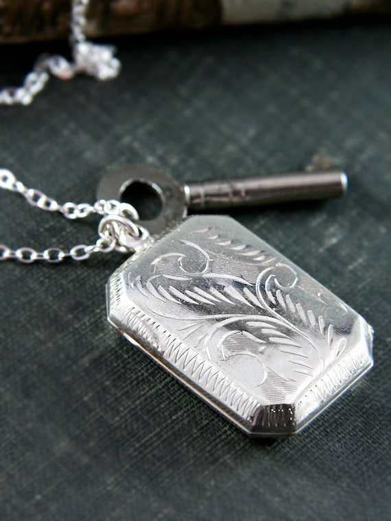 RESERVED Large Rectangle Sterling Silver Locket Necklace, Long Chain - Vintage Key Pendant