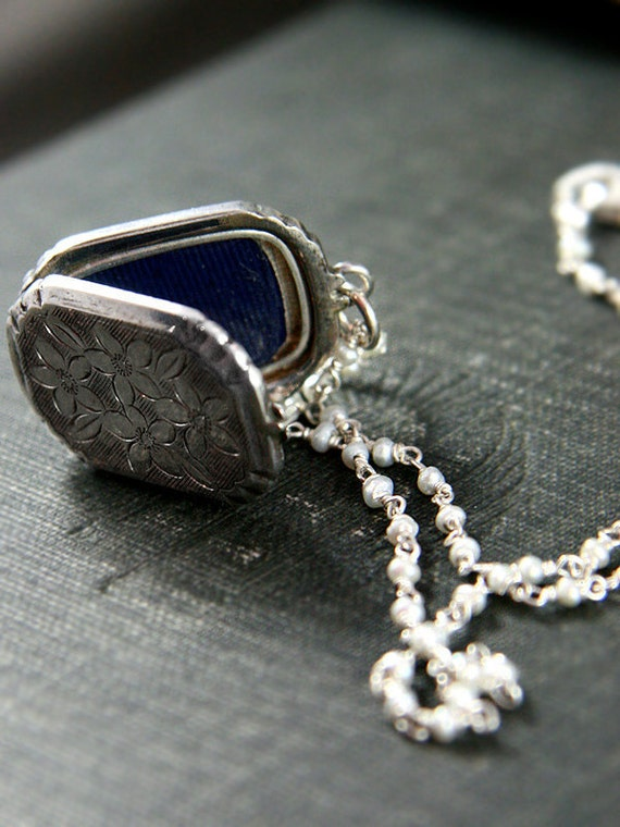 1930's Sterling Silver Engraved Locket Necklace on Wire Wrapped Tiny Pearl Chain