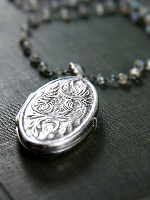 RESERVED for jaycoop1 Sterling Silver Locket Labradorite Necklace Rare Vintage Pendant Wire Wrapped Stone Chain