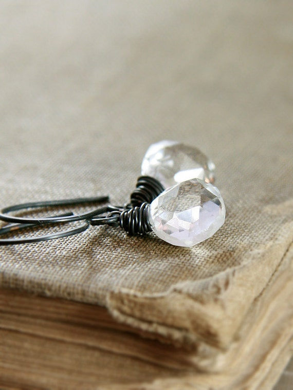 Crystal Quartz Earrings Oxidized Sterling Silver Small Wire Wrapped Stones Monochromatic Gems