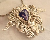 Gothic Necklace, Goth Griffin, Sterling Plate, Sodalite Blue Heart Necklace