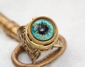 Steampunk Ring, Poison Ring, Steampunk Evil Eye, Secret Compartment, Gothic Ring, Perfume Ring