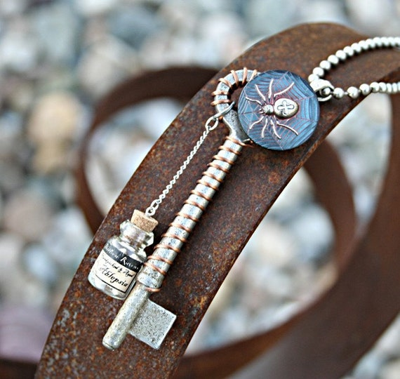 Steampunk Gothic  Necklace Skeleton Key, Spider, Aragog, Dark, Raccoon Teeth,Talisman, Harry Potter, Magic, UNISEX, Handcrafted by designsbloom on Etsy