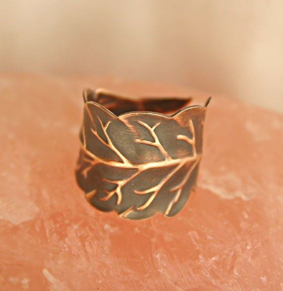 Antiqued Leaf Ring, Wrapped Leaf, Natural Veining, Brass Ring, Rustic