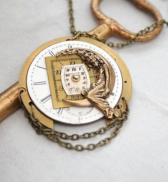 Steampunk Necklace,  Watch Pendant, Artemis Moon Goddess, Vintage Watch Necklace