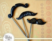Mustache Party Favors on STEEL RODS - The Celebrity Mix - Set of 3