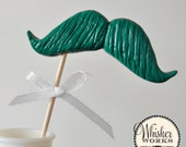 SALE - Emerald Green Mustache on a Stick - The Engineer