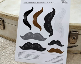 DIY Photo Booth Printables - Mix Pack - Mustaches
