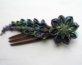 Reserved for Lark--The Heathered Hills Kanzashi Hair Fork in Green and Purple