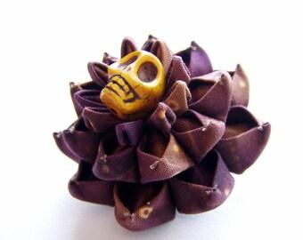 To Everything an End Kanzashi Chrysanthemum Prong Barrette Sugar Skull Flower