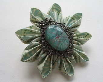 Dreaming of Paree Kanzashi Hair Barrette in Mint and Cream
