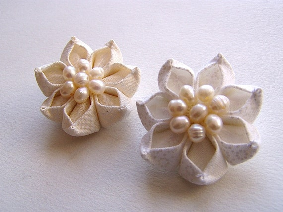 Favors of Frost White and Cream Kanzashi Flower Pair Wedding Flowers