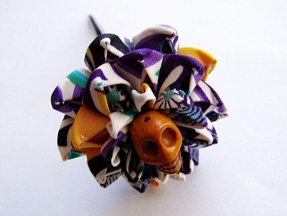 Mardigras Sugar Skull Kanzashi Flower Hair Stick on Lacquered Poplar Wood