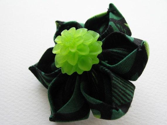 Emerald Shadows Kanzashi Hair Flower Barrette in Green and Black