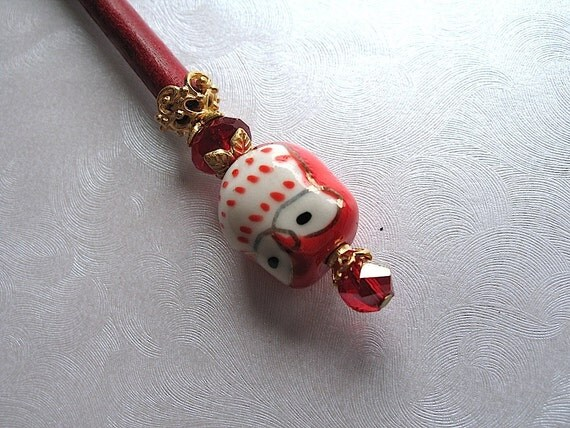 Ophelia the Little Red Owl Hair Stick