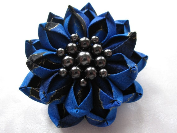 Reserved--Royal Lotus Kanzashi Flower Hair Clip in Blue and Black