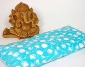 Eye Pillow, bright turquoise blue with white spring flowers - Organic Lavender - summer - Yoga, sleep, travel, spa, gift