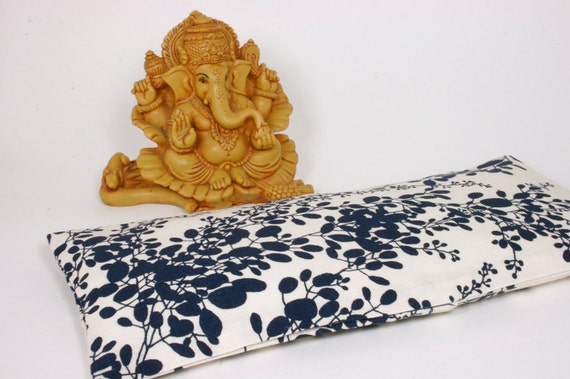 Spa Eye Pillow  - Choose your own Aromatherapy - navy blue flower - cotton slip cover