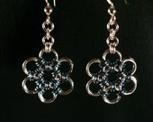 Japanese Silver Blue Chainmaille Snowflake