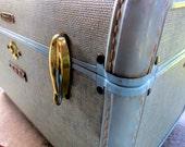 Vintage Samsonite Train Case-initals JME-treasure chest-doll suitcase-sewing box