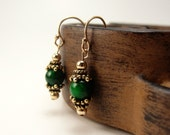 Jade Earrings, Tudor Inspired, Jade Beads, Gold Filled, Jewelry. Jewellery by AugustStudios on Etsy