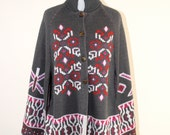 vintage tribal knit poncho