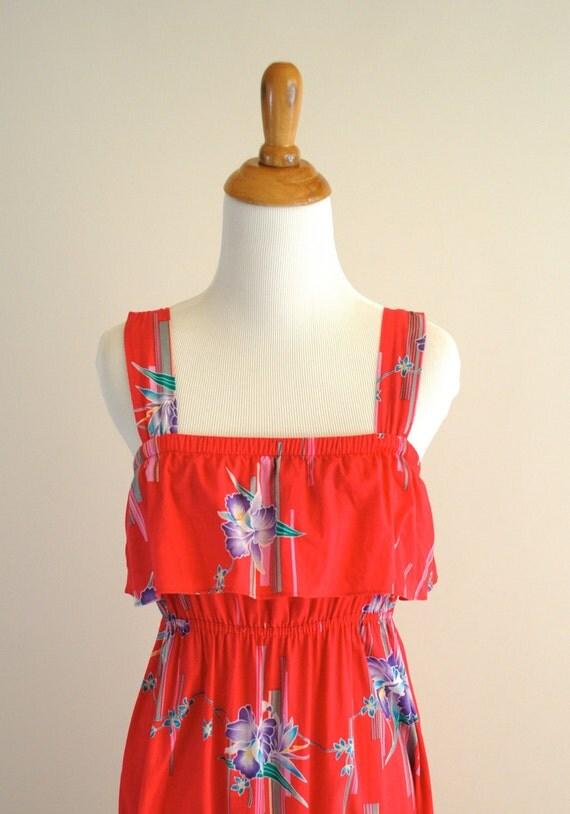 vintage floral brink pink maxi dress