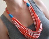 T-Shirt Necklace - Reddish-Orange and Turquoise Fabric Necklace - T-Shirt Jewelry - Fabric Jewelry - Adjustable Length - Eco Friendly