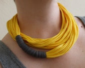 Fabric Necklace - Yellow and Gray T-Shirt Necklace - Long and Skinny - Eco Friendly