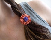Fabric Hair Accessory - T-Shirt Ponytails - Orange and Purple Flower Ponytail Holders - Set of 2