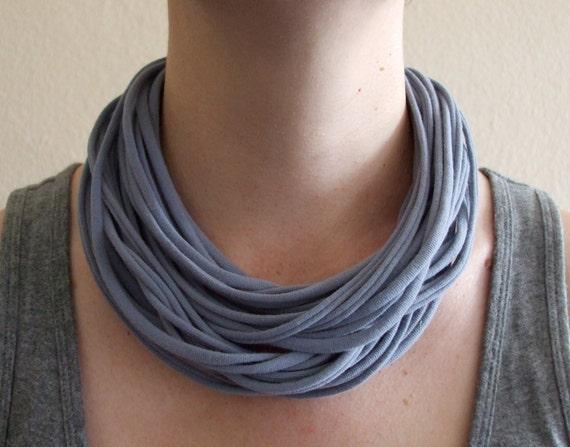 Light Gray Fabric Necklace