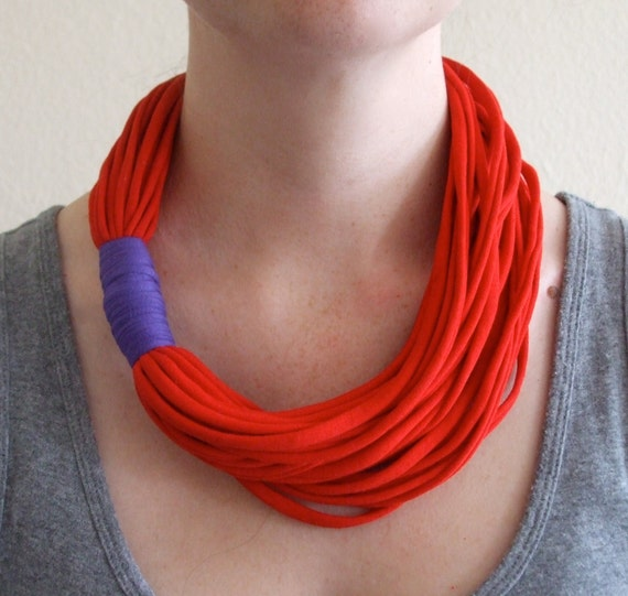 T-Shirt Necklace - Red and Purple  Necklace - Fabric Necklace - Eco Friendly Jewelry